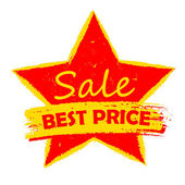 Best price sale in star, yellow and red drawn label — Stock Photo