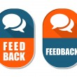 Feedback and speech bubbles signs, two elliptical labels — Stock Photo #49150699