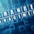 Change management in blue glass blocks — Stock Photo #49150711