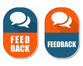 Feedback and speech bubbles signs, two elliptical labels — Stock Photo