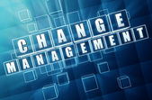 Change management in blue glass blocks — Stock Photo