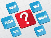 Question sign and question words in flat blocks — Stock Photo