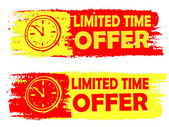 Limited time offer with clock sign, yellow and red drawn labels — Stock Photo