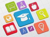Education signs in flat blocks — Stock Photo