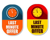 Last minute offer with clock signs, two elliptical labels — Stockfoto