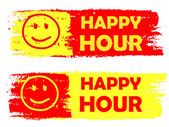 Happy hour with smile sign, yellow and red drawn labels — Stock Photo