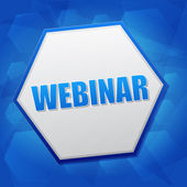 Webinar in hexagon, flat design — Stock Photo
