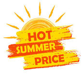 Hot summer price with sun sign, yellow and orange drawn label — Stock Photo