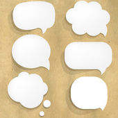 Cardboard Structure With White Paper Speech Bubble — Stok Vektör