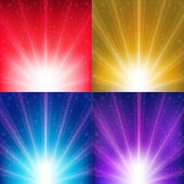 Abstract Color Vector Backgrounds With Sunburst And Stars — Stock vektor