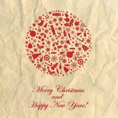 Feliz navidad aplastado papel — Vector de stock
