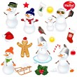 Collection Of Snowmen And Christmas Icons — Stock Vector