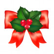 Red Bow With Holly Berry - Stock Vector
