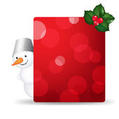 Snowman Man With Blank Gift Tag And Holly Berry — Stock Vector