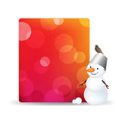 Blank Gift Tag With Snowman And Bird — Stock Vector