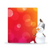Etiqueta del regalo en blanco con muñeco de nieve y bird — Vector de stock