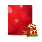 Red Blank Gift Tag And Gift Box — Stock Vector