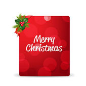 Red Blank Gift Tag And Holly Berry And Ribbon — Wektor stockowy