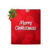 Tag cadeau blanc rouge et baies de houx et ruban — Vecteur