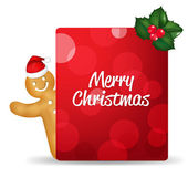 Gingerbread Man With Santa Hat And Blank Gift Tag And Holly Berr — Vetor de Stock
