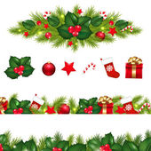Christmas Borders Set With Xmas Garland — Stock Vector