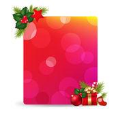 Tag cadeau vide avec cadeau bow et holly berry — Vecteur