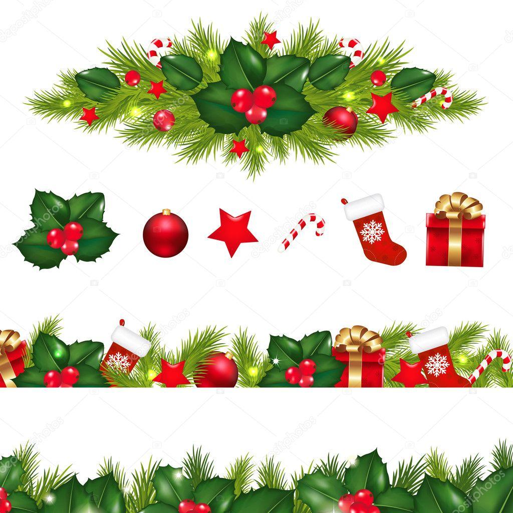 weihnachten grenzen gesetzt mit xmas girlande stockvektor 16923171. Black Bedroom Furniture Sets. Home Design Ideas