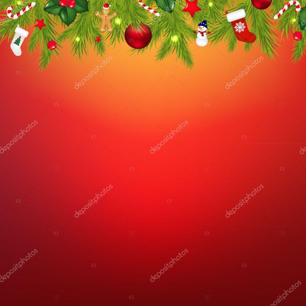 圣诞边界与花环与渐变网格,矢量图 — 矢量图片作者 adamson
