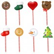 Xmas Color Lollypops Set — Stock Vector