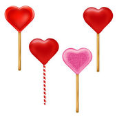Lollypops Form Of Hearts Set — Stock Vector