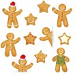 Gingerbread Cookies Set — Stock Vector