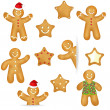 Gingerbread Cookies Set - Stock Vector
