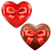 Hearts With Red Bow — Stock Vector