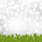 Fir Tree Border With Silver Bokeh — Vector de stock