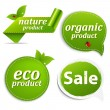 Green Set Eco Tags - Stock Vector