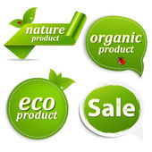 Green Set Eco Tags — Stock Vector