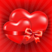 Two Red Hearts With Red Bow And Sunburst — Vecteur