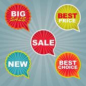 Etiquetas y pegatinas de colores venta — Vector de stock