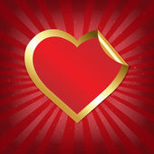 Golden Heart Sticker With Sunburst — Cтоковый вектор