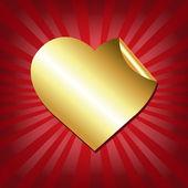 Etiqueta oro corazones con rojo sunburst — Vector de stock