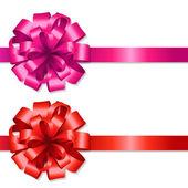 シルクの赤とピンクの弓 — ストックベクタ