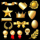 Big Set Of Gold Elements — Stock Vector
