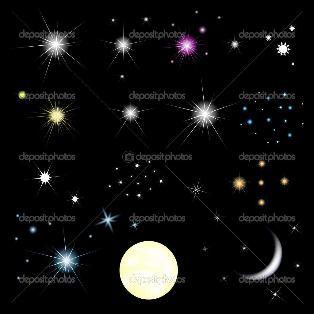 星星和月亮与渐变网格,黑色背景,矢量图上孤立的集 — 矢量图片作者