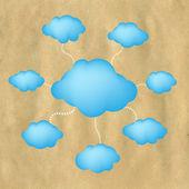 Viejas nubes de papel y web — Vector de stock