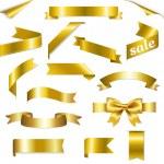 Golden Web Ribbons Set — Stock Vector