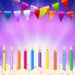 Stock Vector: Happy Birthday Candles