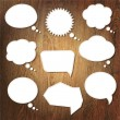 Abstract Speech Bubble On Wooden Background - Stock Vector