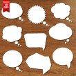 Stock Vector: Wooden Background With Speech Bubbles Set