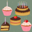 Birthday Cake Big Set — Stock Vector