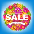 Color Sale Poster With Flowers — Stock Vector